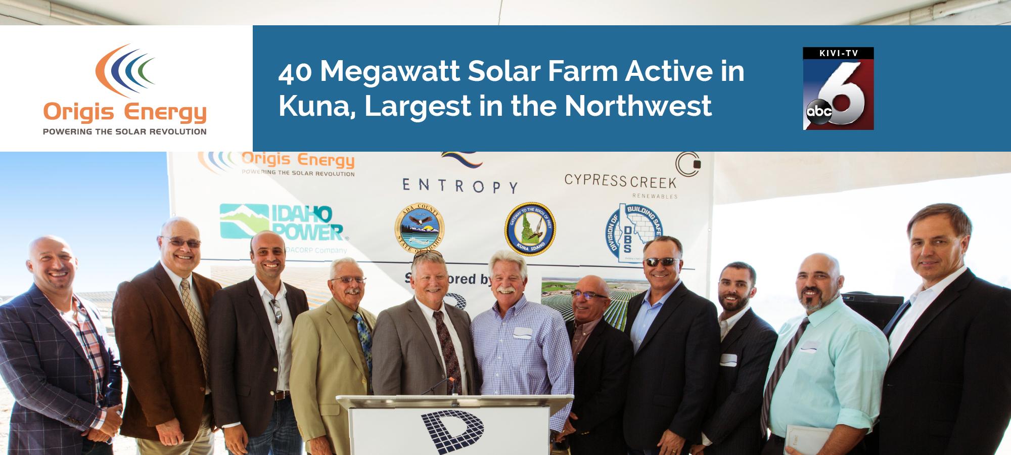 40MW Solar Farm Active in Kuna, Idaho